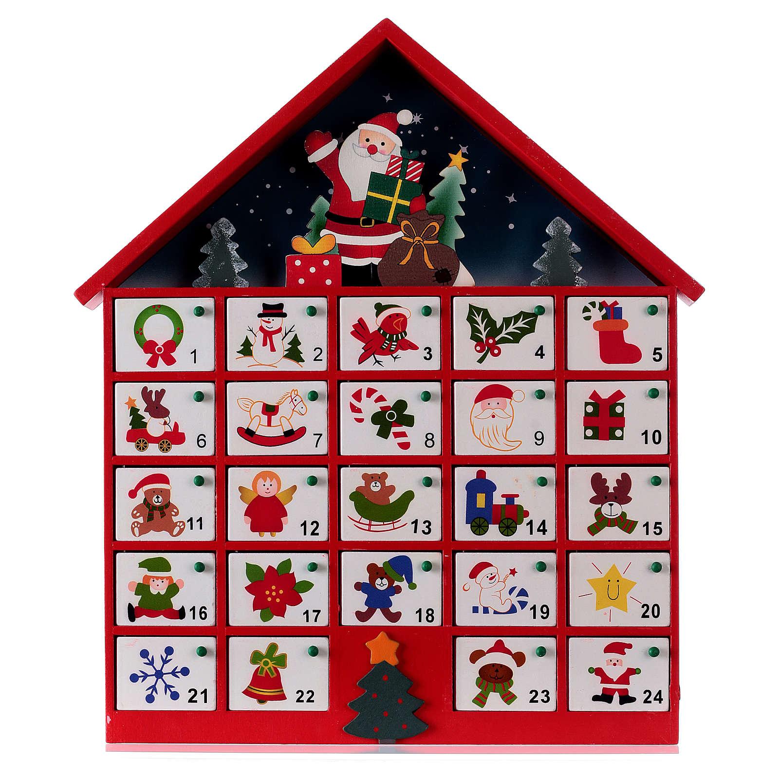 Calendrier de l'Avent maison en bois rouge 20x35x5 cm 3
