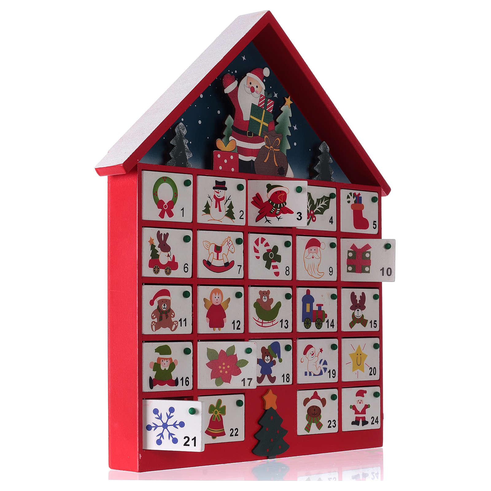 Calendrier De Lavant Maison.Calendrier De L Avent Maison En Bois Rouge 20x35x5 Cm