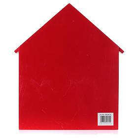 Calendrier de l'Avent maison en bois rouge 20x35x5 cm s4