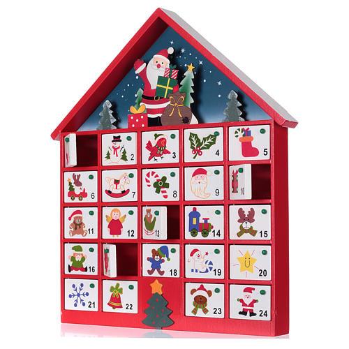 Calendrier de l'Avent maison en bois rouge 20x35x5 cm 2