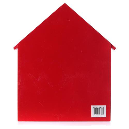Calendrier de l'Avent maison en bois rouge 20x35x5 cm 4
