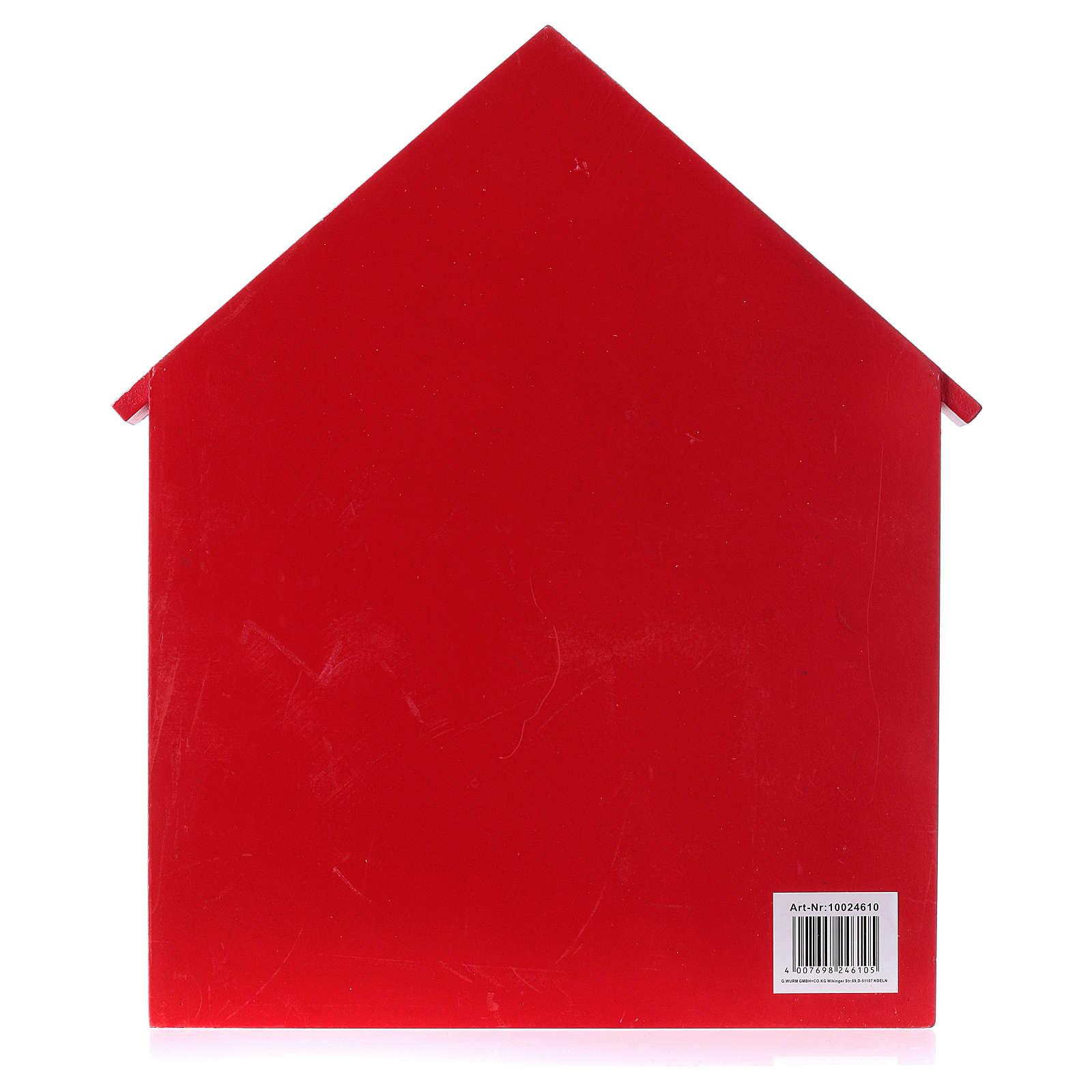 Kalendarz adwentowy domek z drewna czerwony 20x35x5 cm 3