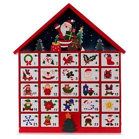Kalendarz adwentowy domek z drewna czerwony 20x35x5 cm s1