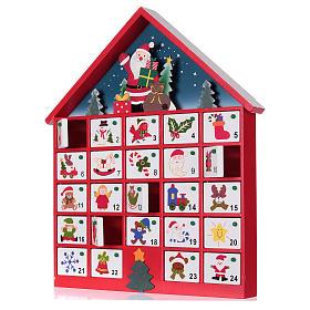 Kalendarz adwentowy domek z drewna czerwony 20x35x5 cm s2