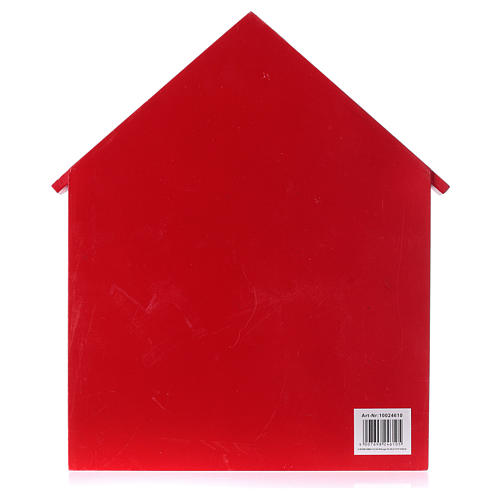 Kalendarz adwentowy domek z drewna czerwony 20x35x5 cm 4