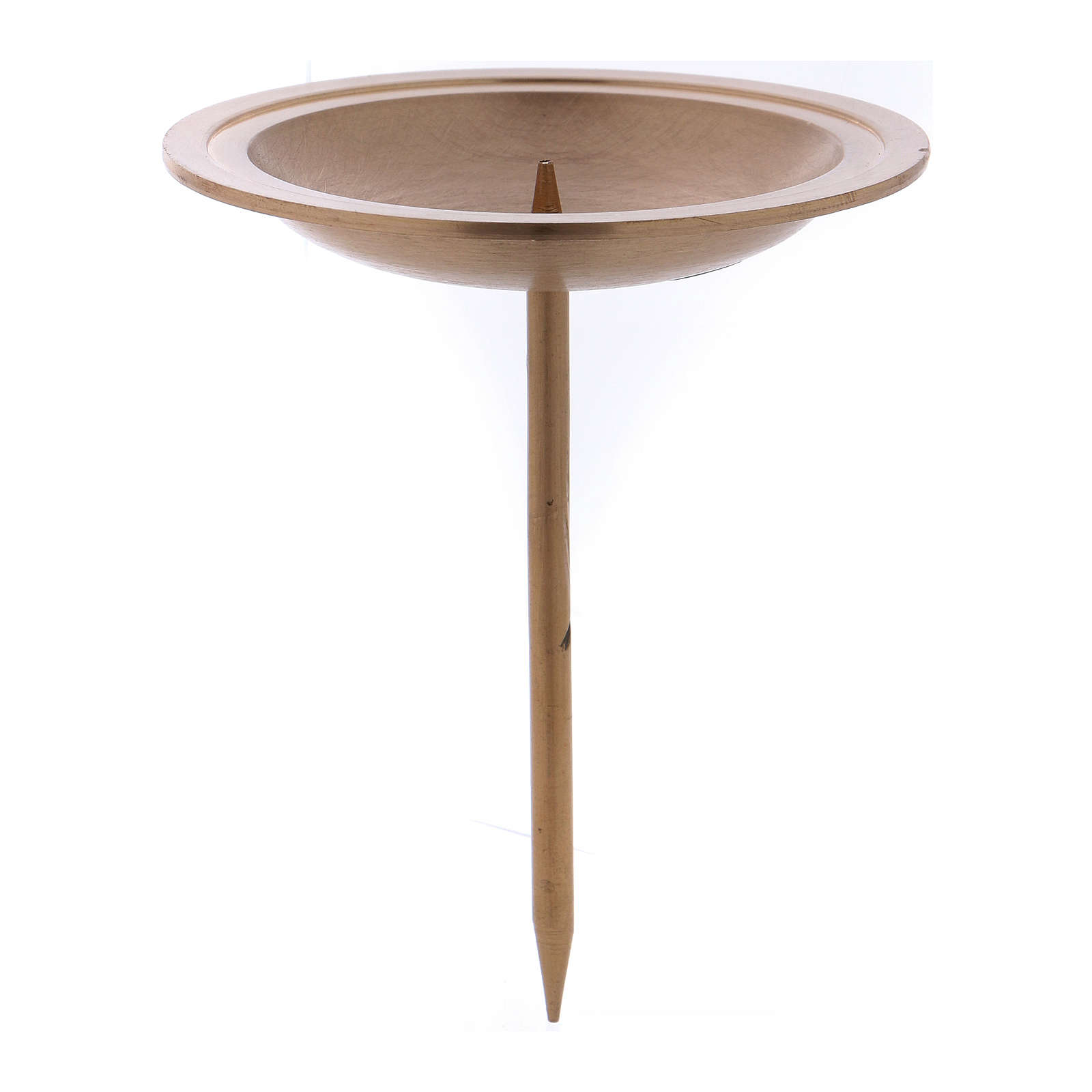 Candle holder in golden brushed brass with spike for Advent candles 3