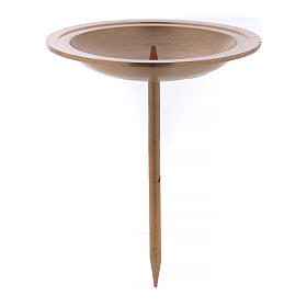 Candle holder in golden brushed brass with spike for Advent candles s1