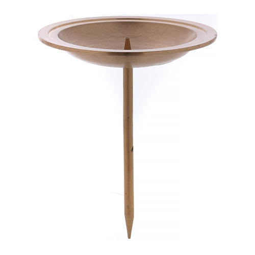 Candle holder in golden brushed brass with spike for Advent candles 1
