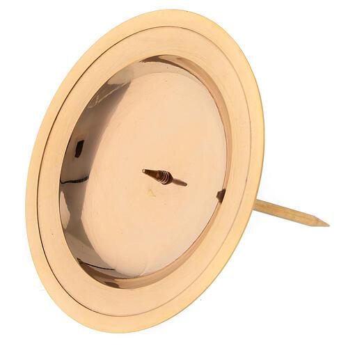 Base vela de latón dorado lúcido para corona de Adviento 7 cm 2