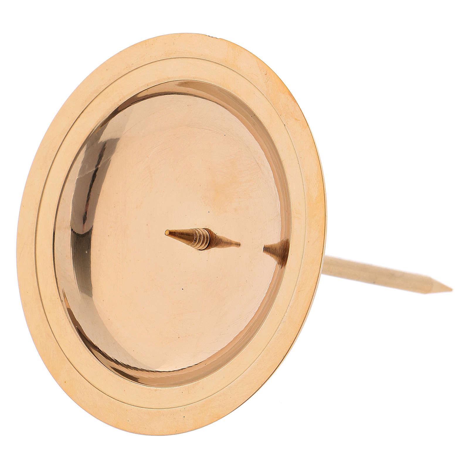 Porte-bougie pour couronne avent 4 pcs laiton doré brillant 3