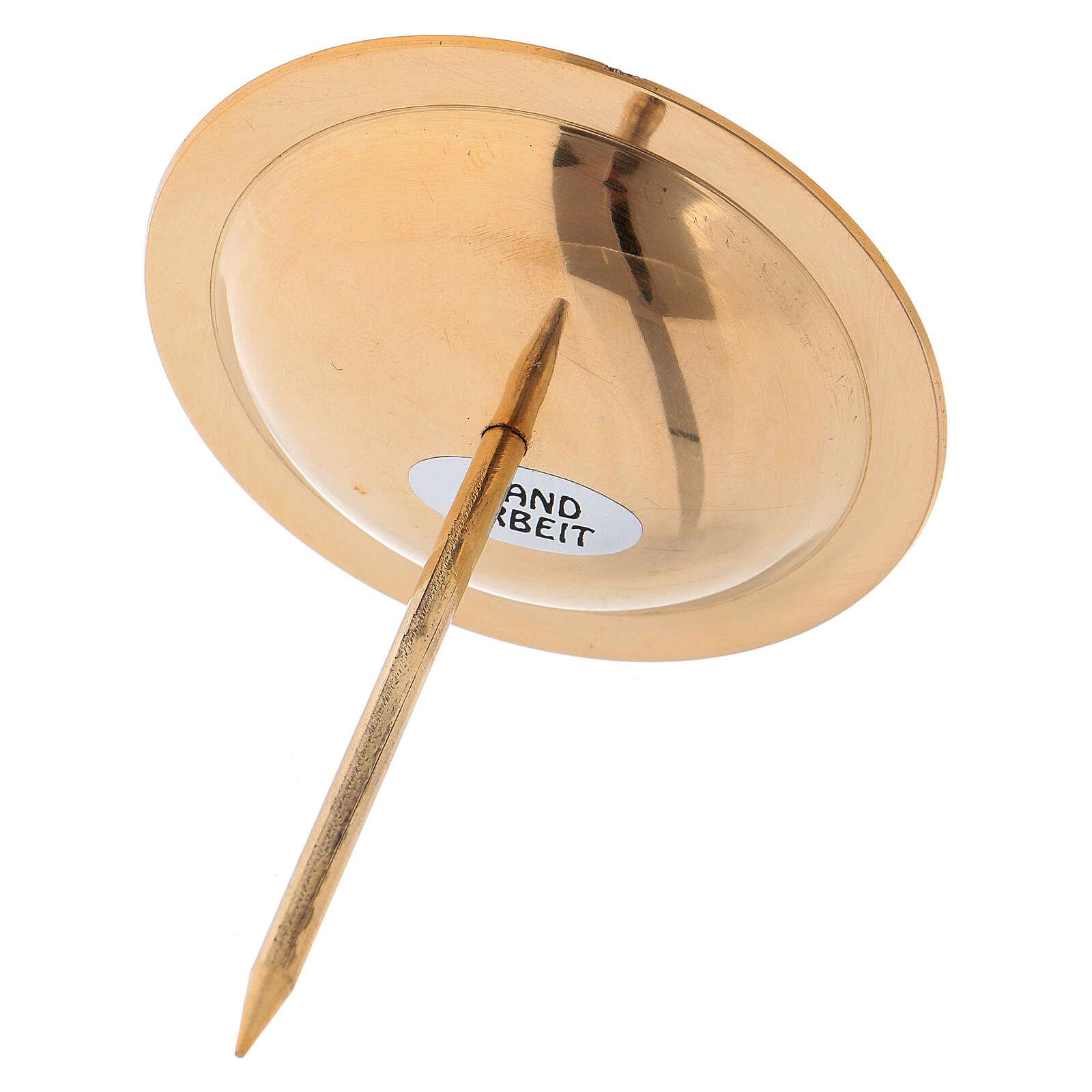Porta-vela para coroa Advento 4 peças latão dourado brilhante 3