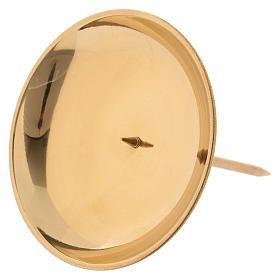Porte-bougie avec pique pour avent laiton doré brillant s2