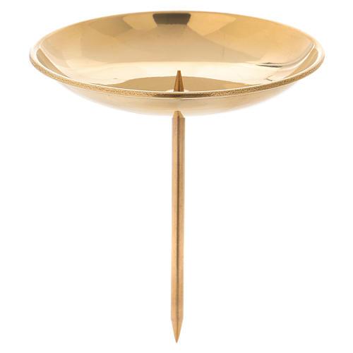 Porte-bougie avec pique pour avent laiton doré brillant 1