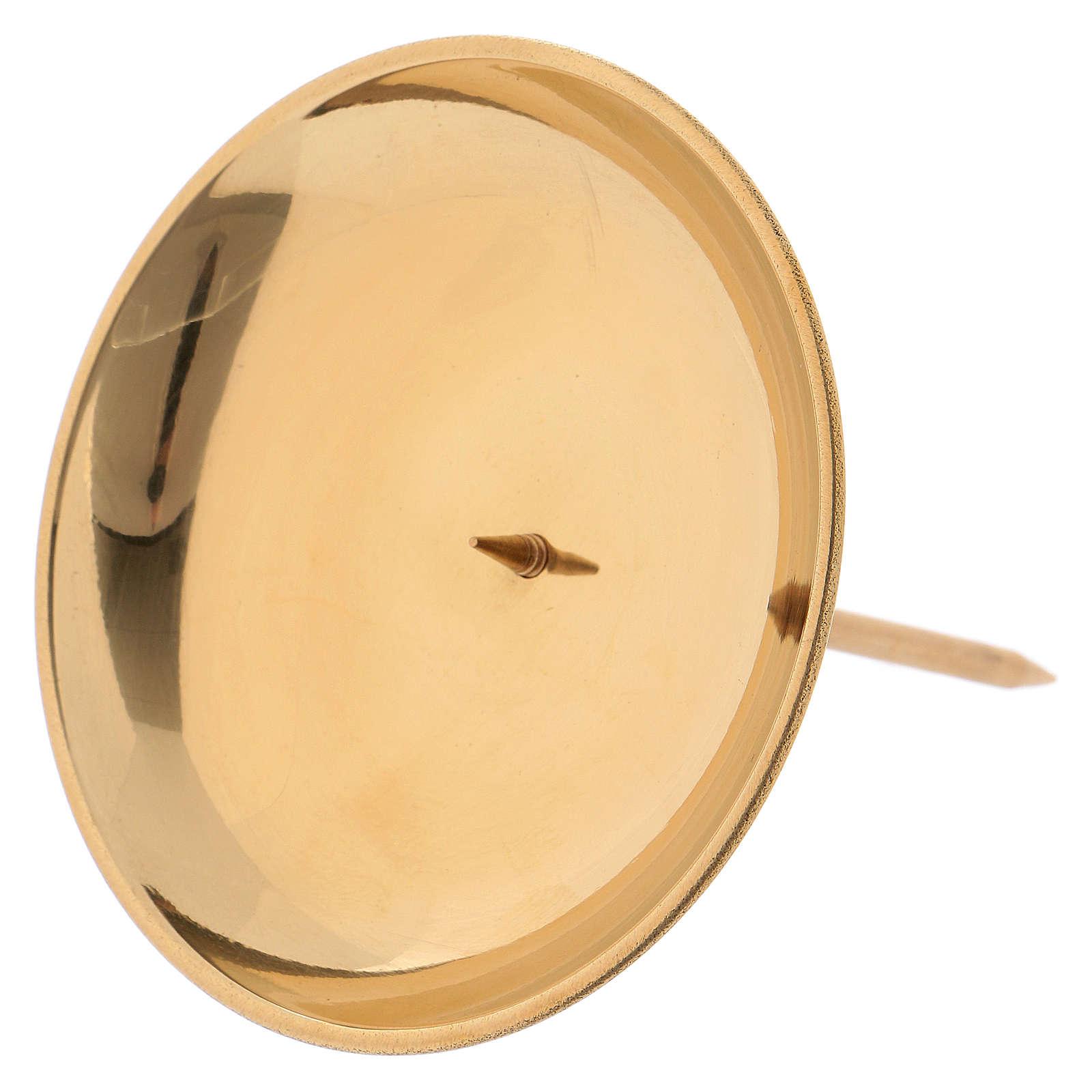 Portacandela con spuntone per avvento ottone dorato lucido 3