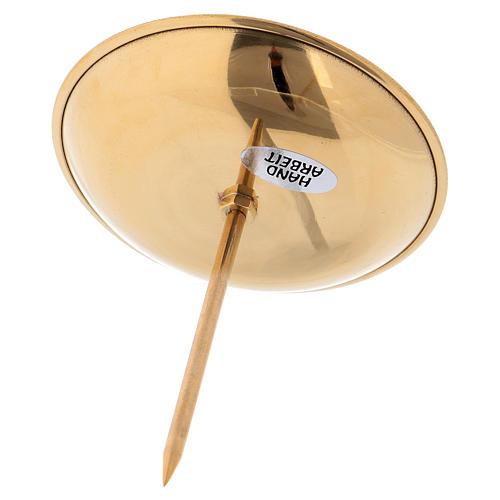 Podstawka z kolcem pod świecę na Adwent 4 szt mosiądz pozłacany polerowany 3
