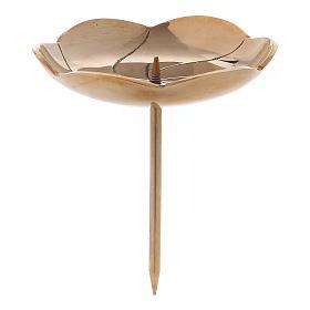 Portacandela fior di loto con spuntone per Avvento ottone dorato s1