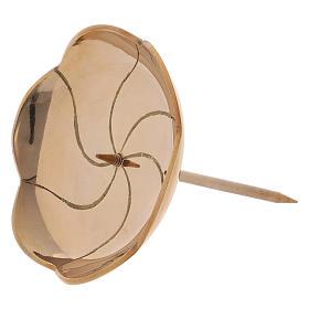 Portacandela fior di loto con spuntone per Avvento ottone dorato s2