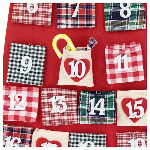 Calendario de Adviento Papá Noel de tela 120 cm 2