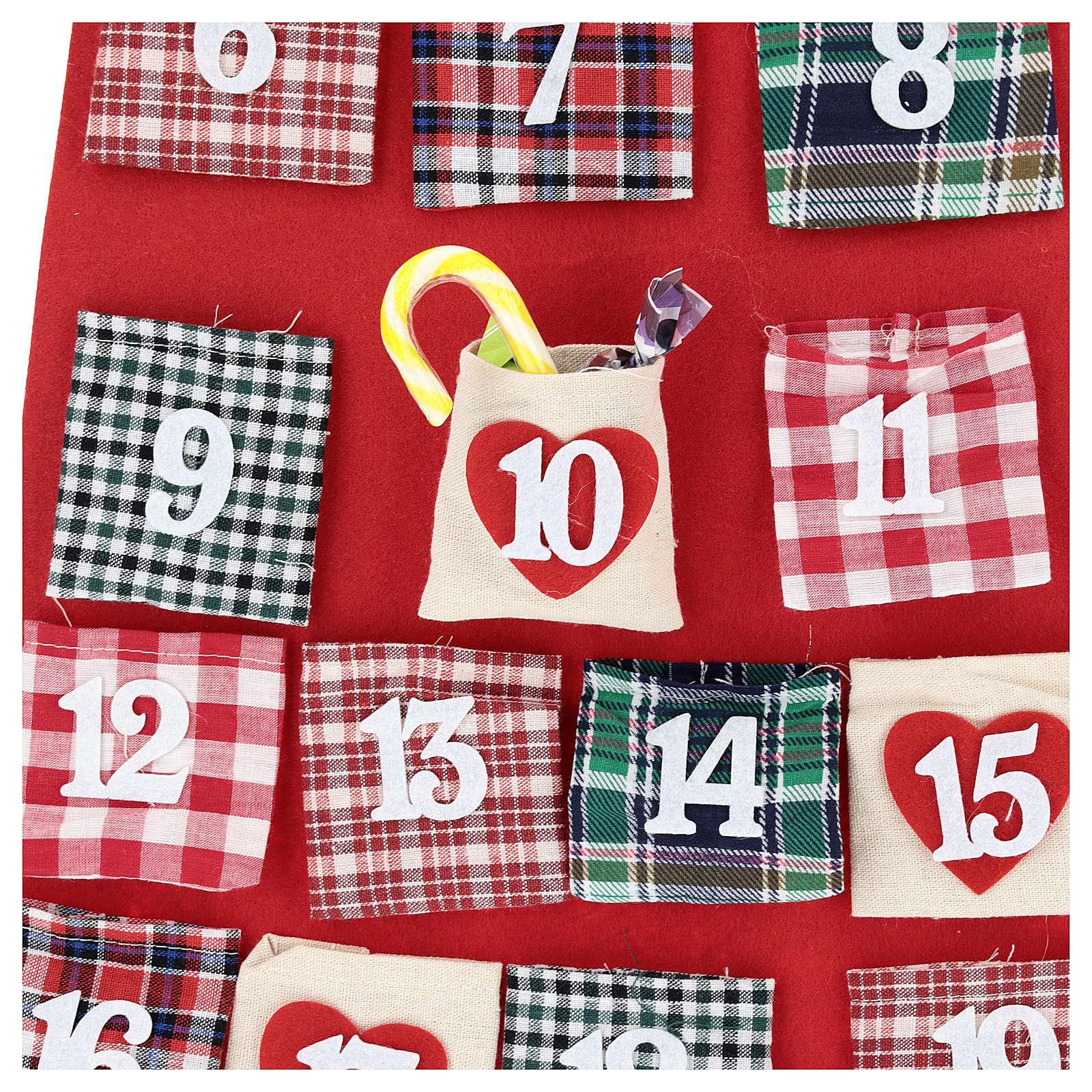 Calendario dell'Avvento Babbo Natale in stoffa 120 cm 3