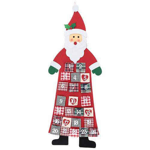 Calendario dell'Avvento Babbo Natale in stoffa 120 cm 1