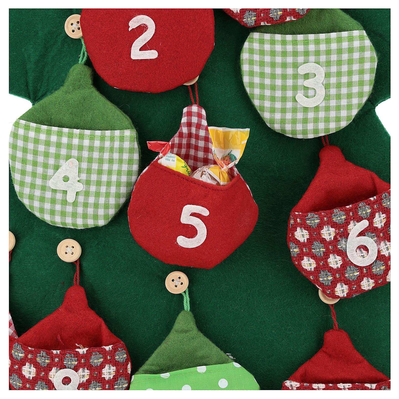 Calendario árbol de Navidad para Adviento de tela h. 90 cm 3