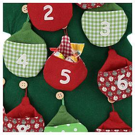 Calendario árbol de Navidad para Adviento de tela h. 90 cm s2