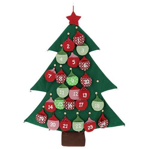 Calendario árbol de Navidad para Adviento de tela h. 90 cm 1