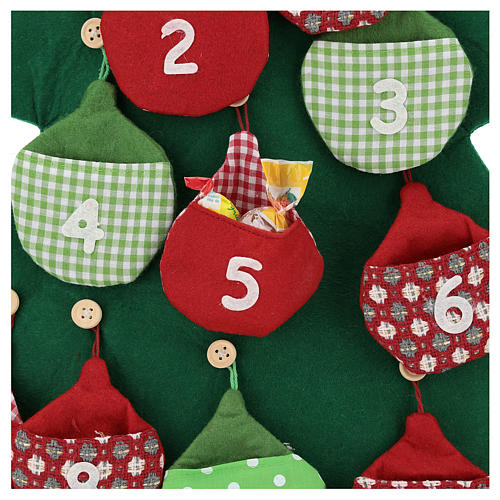 Calendario árbol de Navidad para Adviento de tela h. 90 cm 2