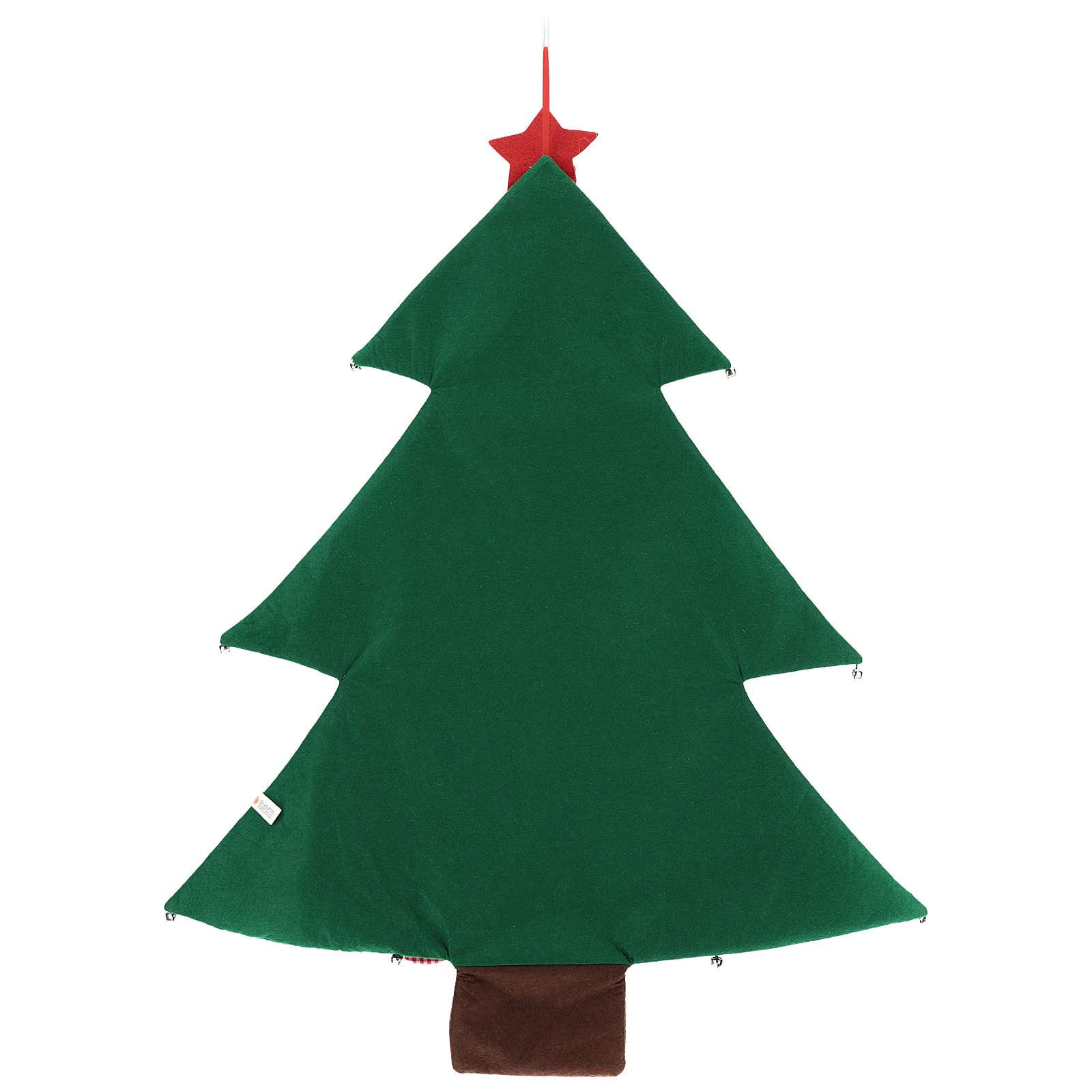 Calendário árvore de Natal para o Advento em tecido 90 cm 3