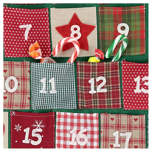 Calendario Adviento en forma de árbol de Navidad h. 90 cm 2