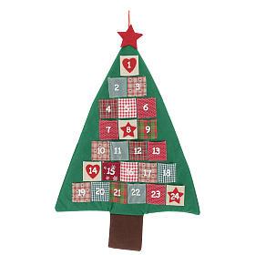 Calendrier Avent en forme de sapin de Noël h 90 cm s1