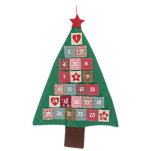 Calendario Avvento a forma di albero di Natale h. 90 cm 1