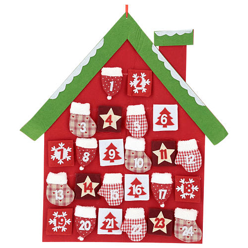Advent Calendar in cloth in the shape of a cottage, 70 cm 1