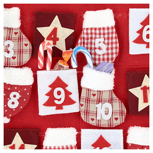 Advent Calendar in cloth in the shape of a cottage, 70 cm 2