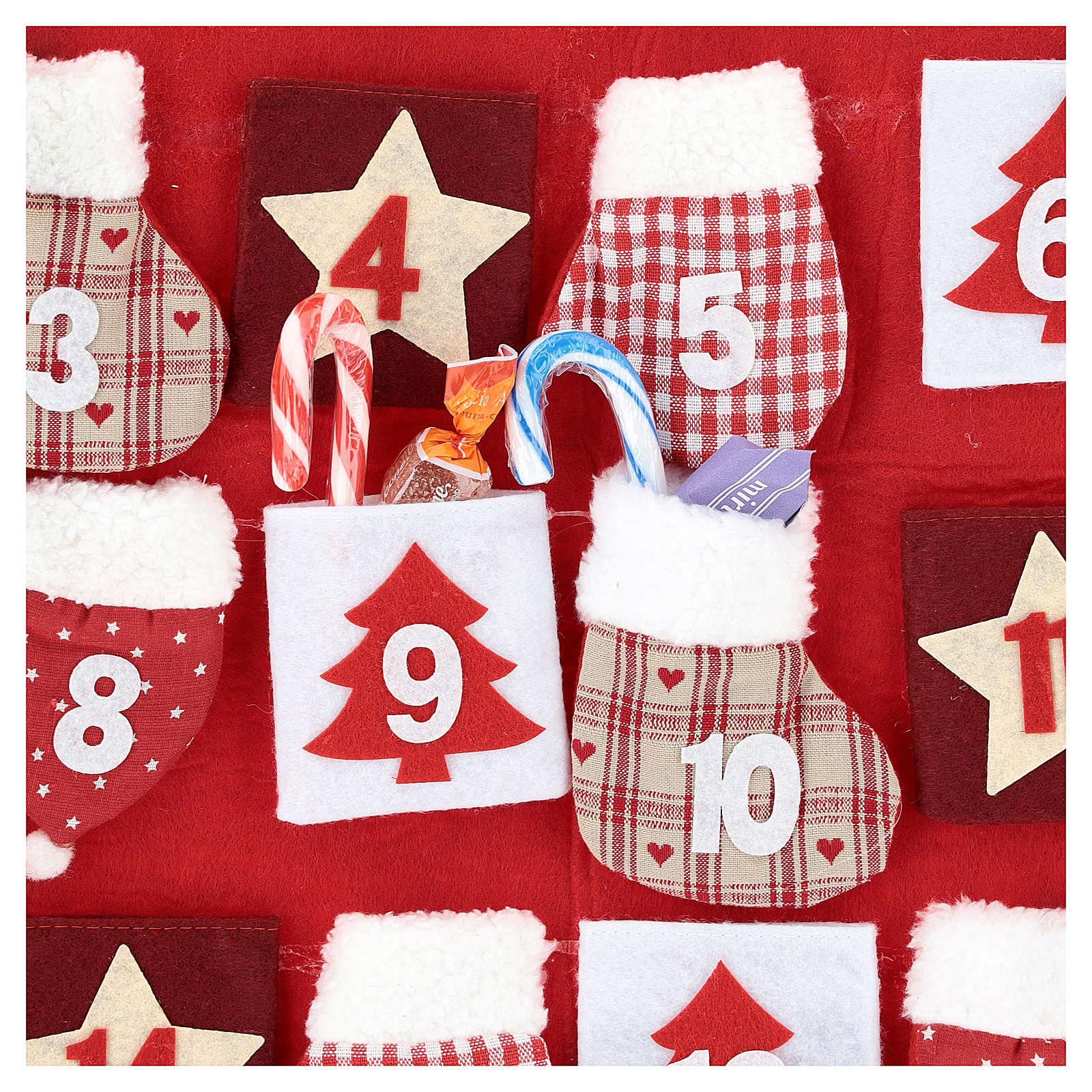Calendário Natal em tecido casinha 70 cm 3