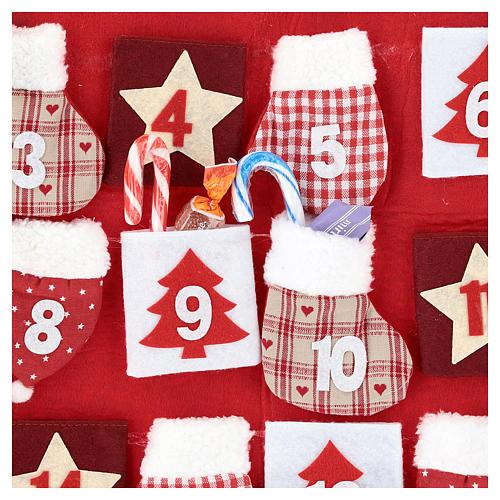 Calendário Natal em tecido casinha 70 cm 2