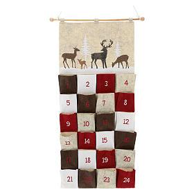 Calendario Avvento in stoffa con cervi 110 cm s1