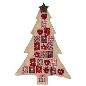 Adviento: Calendario Adviento de arpillera árbol de Navidad h. 120 cm