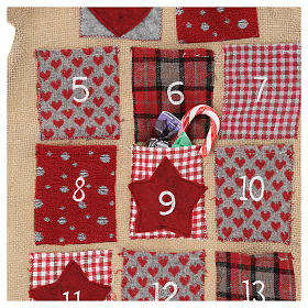 Calendario Adviento de arpillera árbol de Navidad h. 120 cm s2
