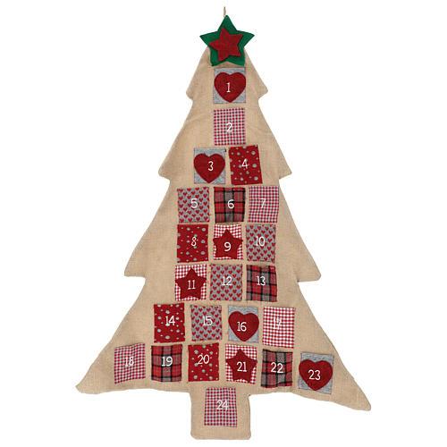 Calendario Adviento de arpillera árbol de Navidad h. 120 cm 1