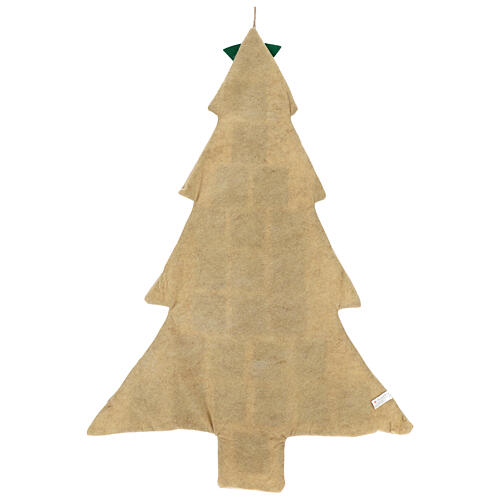 Kalendarz adwentowy z juty choinka h 120 cm 3