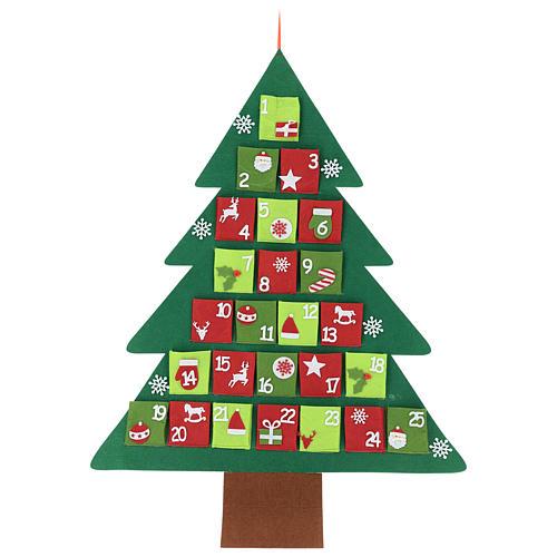 Calendario Adviento 25 bolsillos árbol de Navidad 110 cm 1
