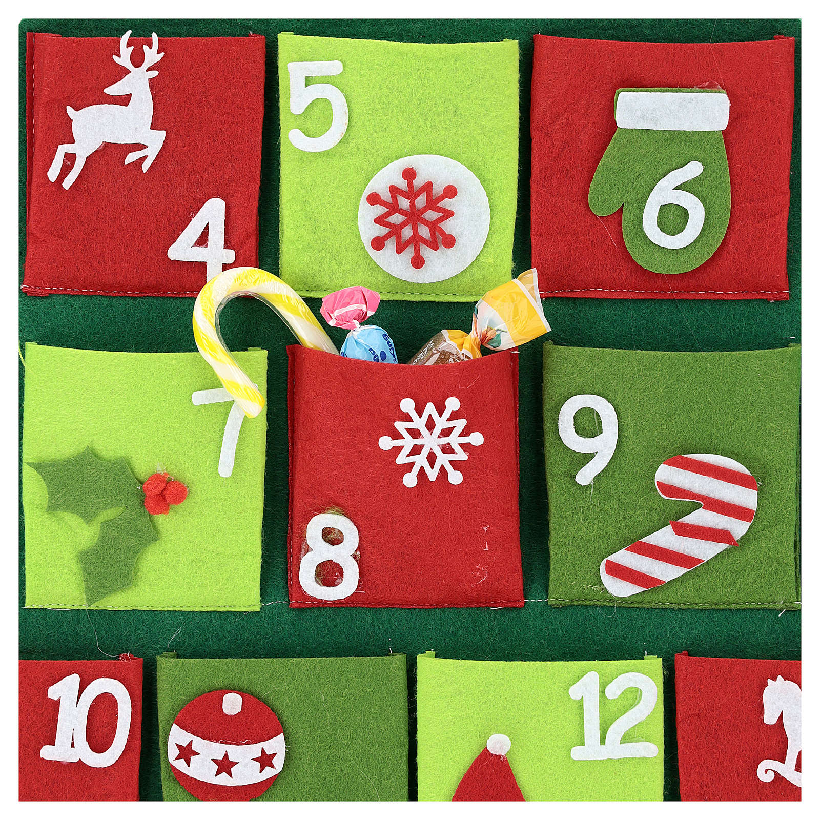 Calendario Avvento 25 tasche albero di Natale 110 cm 3