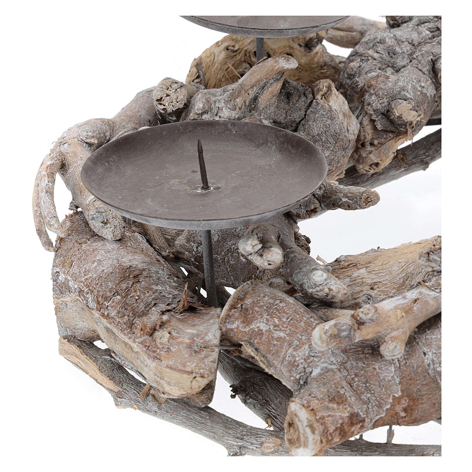 Couronne de l'Avent en bois diam. 30 cm 3