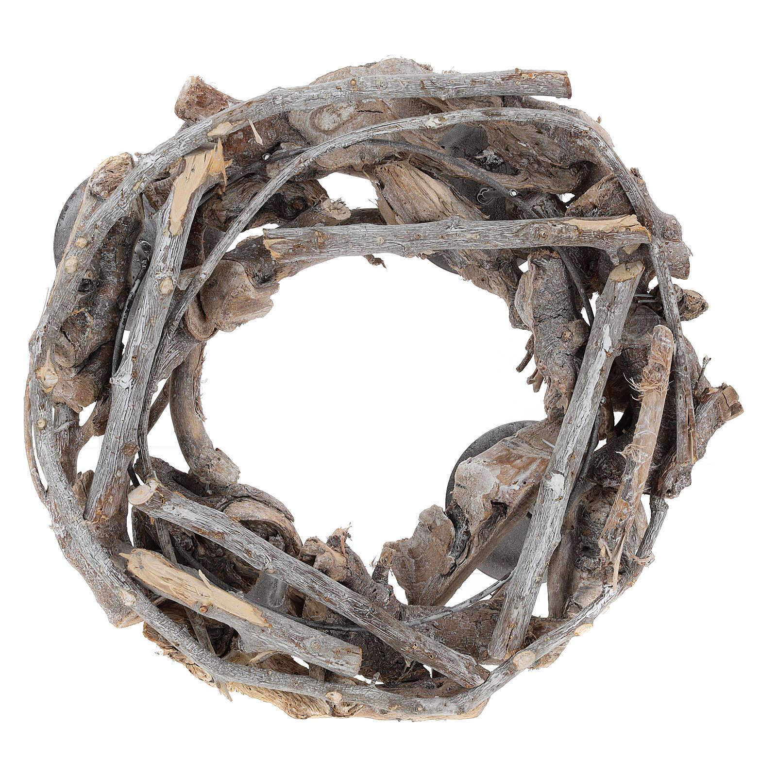 Korona adwentowa z drewna śr. 30 cm 3