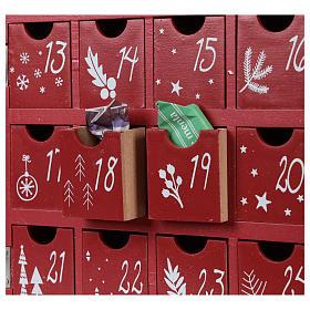 Calendario dell'Avvento in legno forma di casetta con luci 30x40x5 cm s2