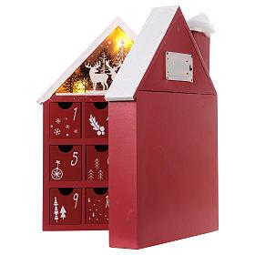 Calendario dell'Avvento in legno forma di casetta con luci 30x40x5 cm s5