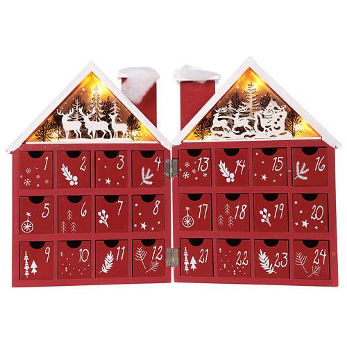 Calendario dell'Avvento in legno forma di casetta con luci 30x40x5 cm 1