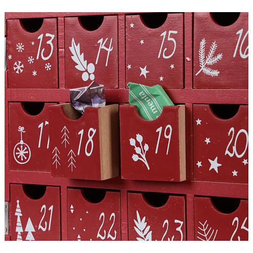 Calendario dell'Avvento in legno forma di casetta con luci 30x40x5 cm 2