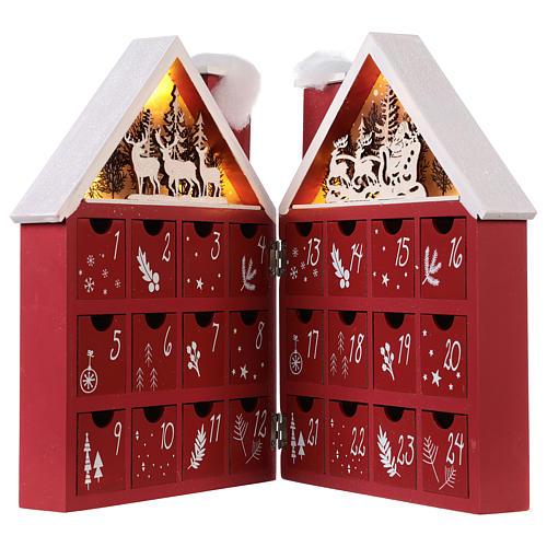 Calendario dell'Avvento in legno forma di casetta con luci 30x40x5 cm 3